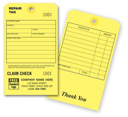 Repair Tag with Claim Check