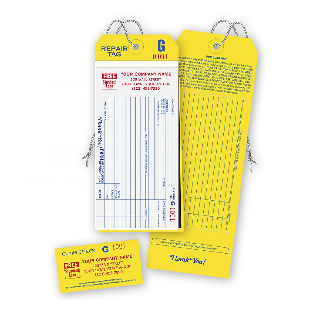 Repair Tags W/ Claim Check & Carbons, White