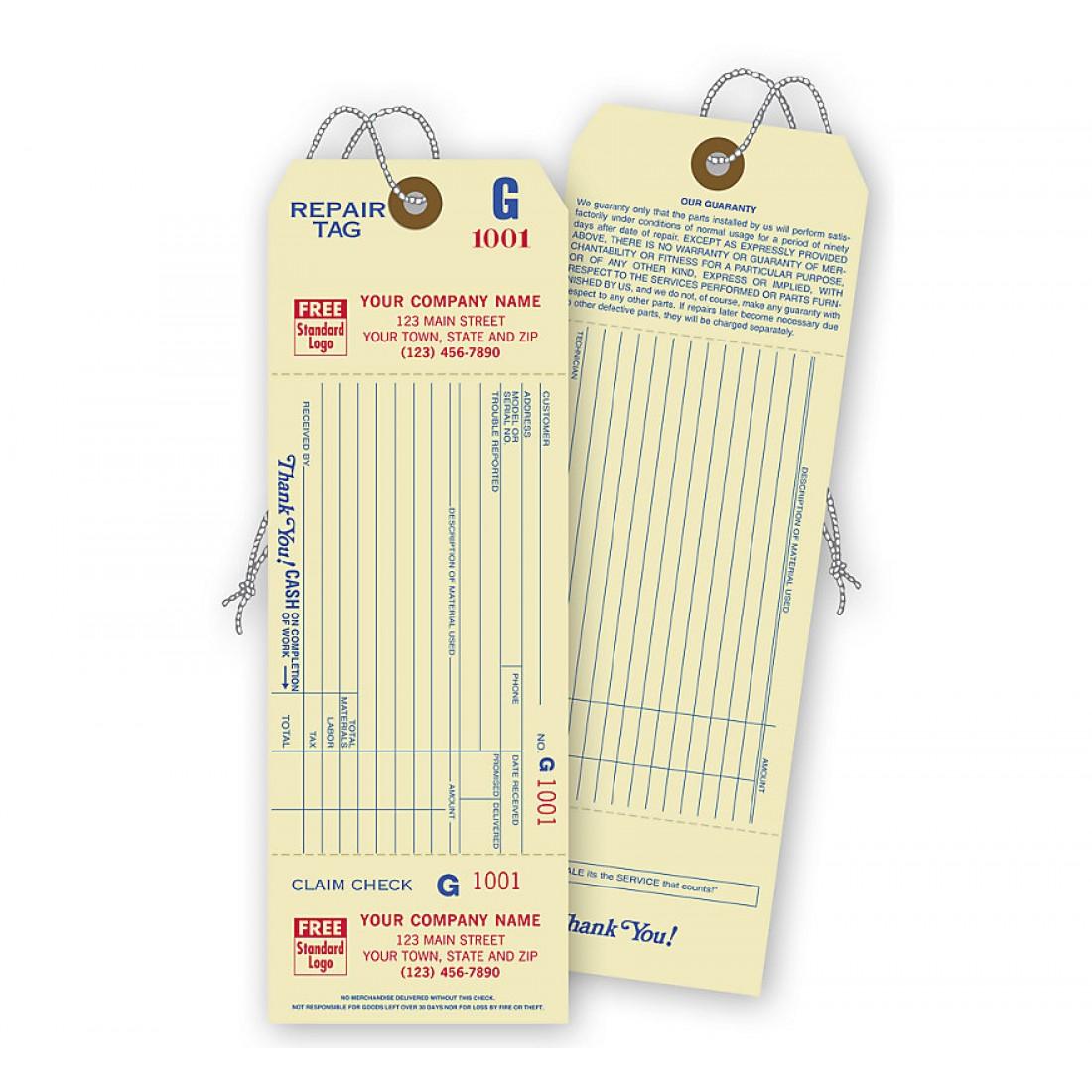 Repair Tags W/ Detachable Claim Check, 1 Part, Manilla