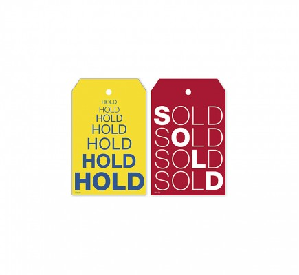 Reusable Hold & Sold Tag Set W/Repeating Words 2 X 3.125