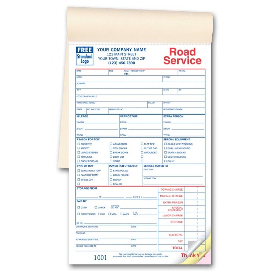 Road Service Form - Booked