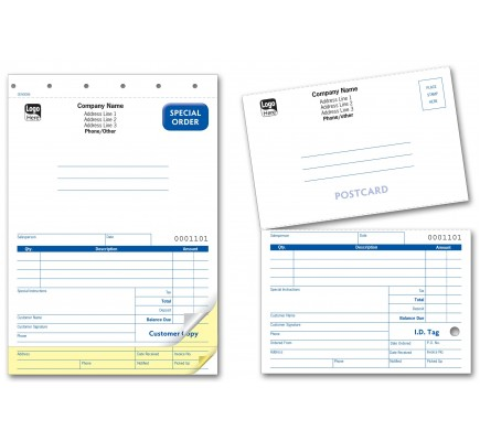 Sales Order Forms with Mailing Card
