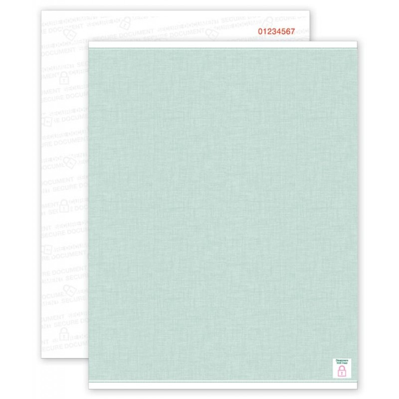 Security Paper Green, Blank Sheets, Numbered