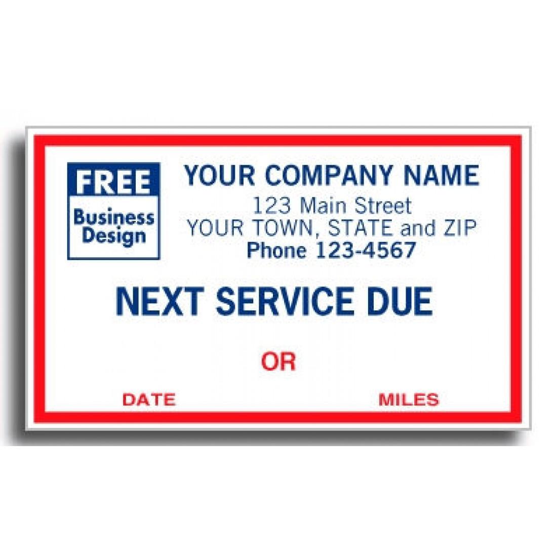 Service due sticker labels