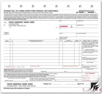 Small Carbon Bill of Lading Forms