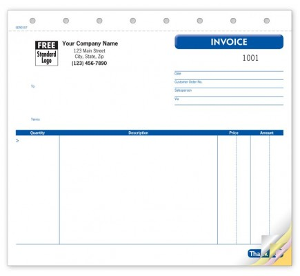 Small unlined General Business Invoice Forms