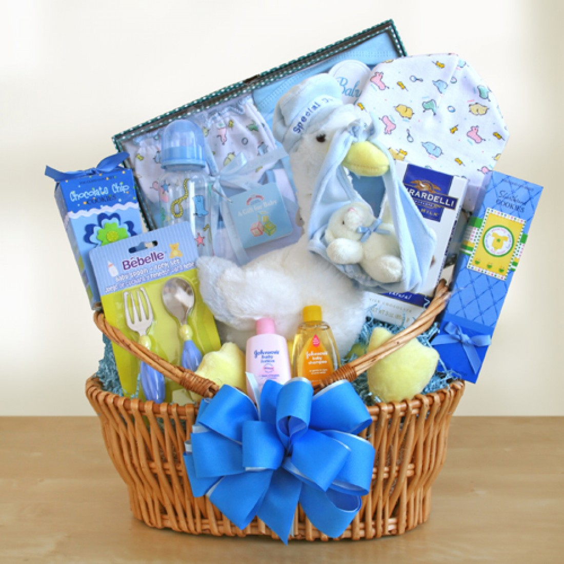 Baby Gift Baskets International Delivery : Special stork delivery baby boy basket free shipping