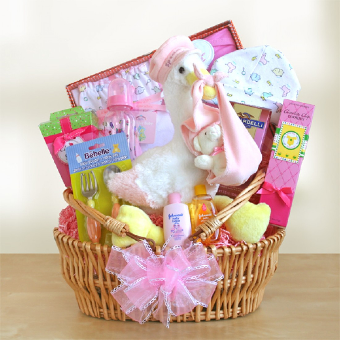 Baby Gift Baskets Delivered : Special stork delivery baby girl basket free shipping