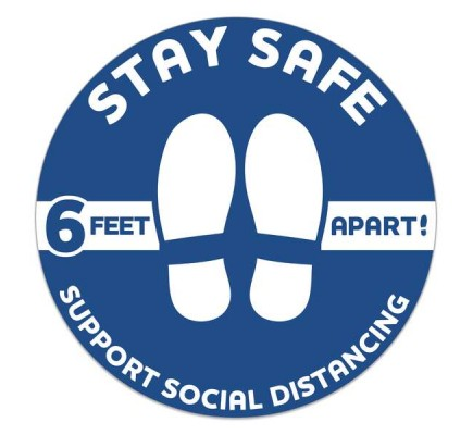 """Stay Safe Circle Floor Decal 12"""" Dia Pack of 6"""