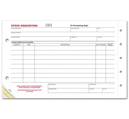 Stock Requisition Business Forms