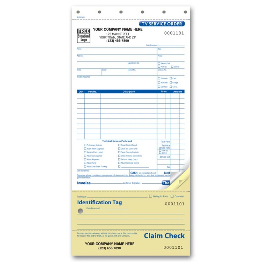TV Service Order Forms - Carbonless