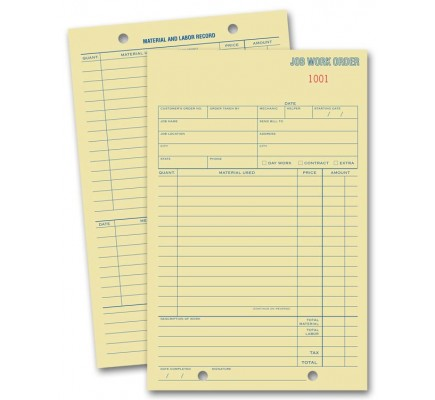 Tag Stock Work Order Pads
