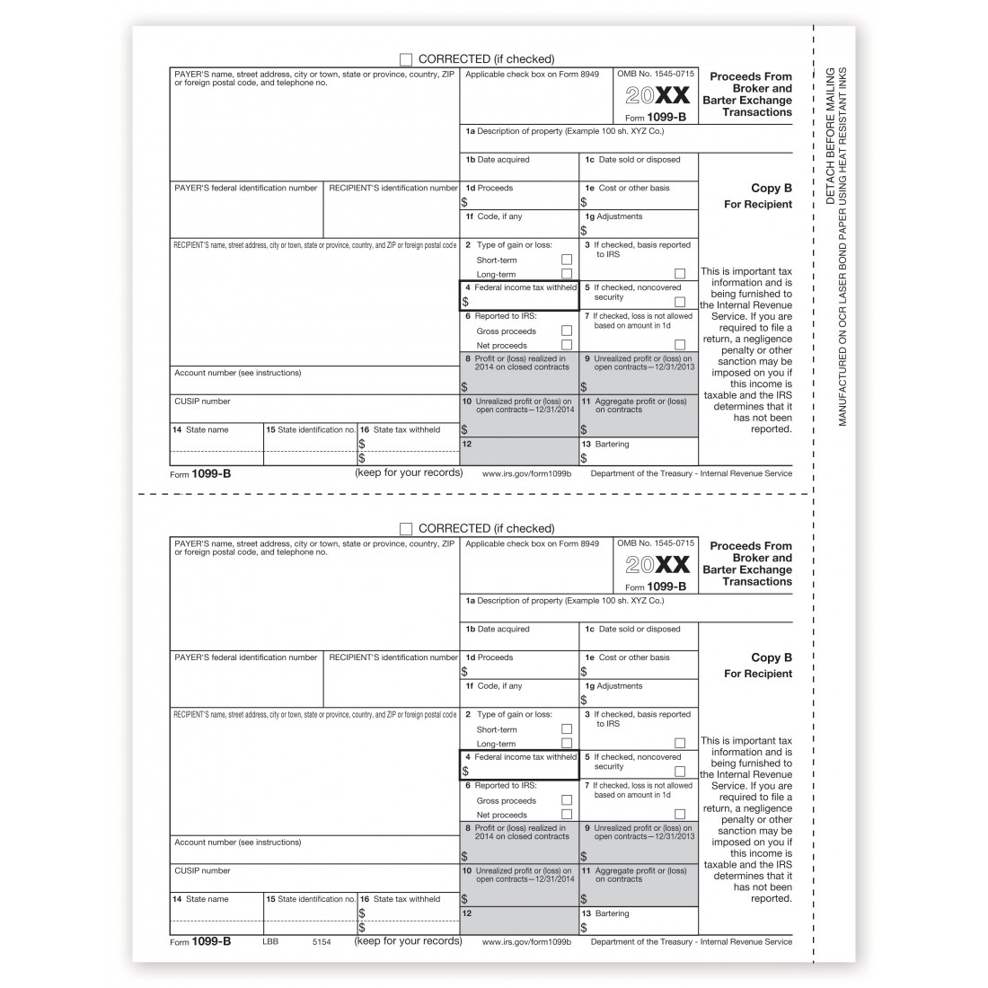Tax Form 1099 B, Recipient Copy B