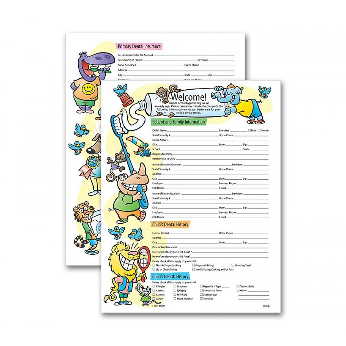 Two Sided Registration & History Form Pediatric Dental