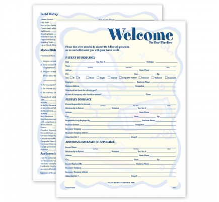 Two-Sided Registration & History Form Smile Helpers Design