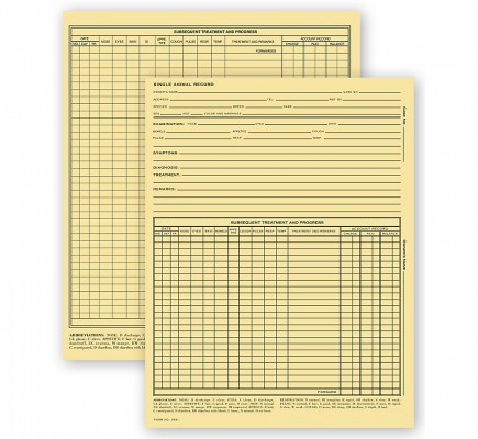 Vet Animal Exam Records With Account Record Card File Fold