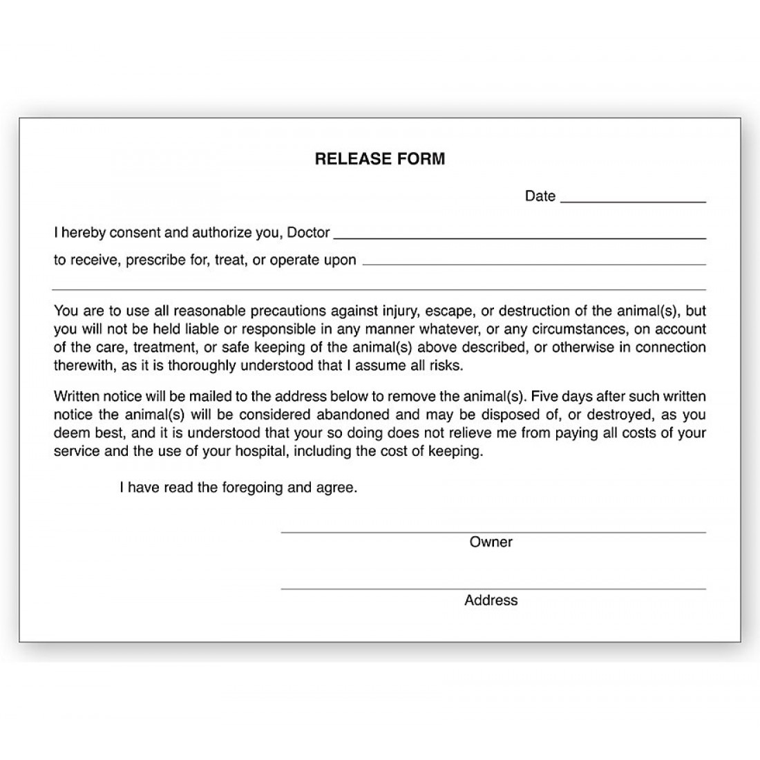 Veterinary Release Form Pads
