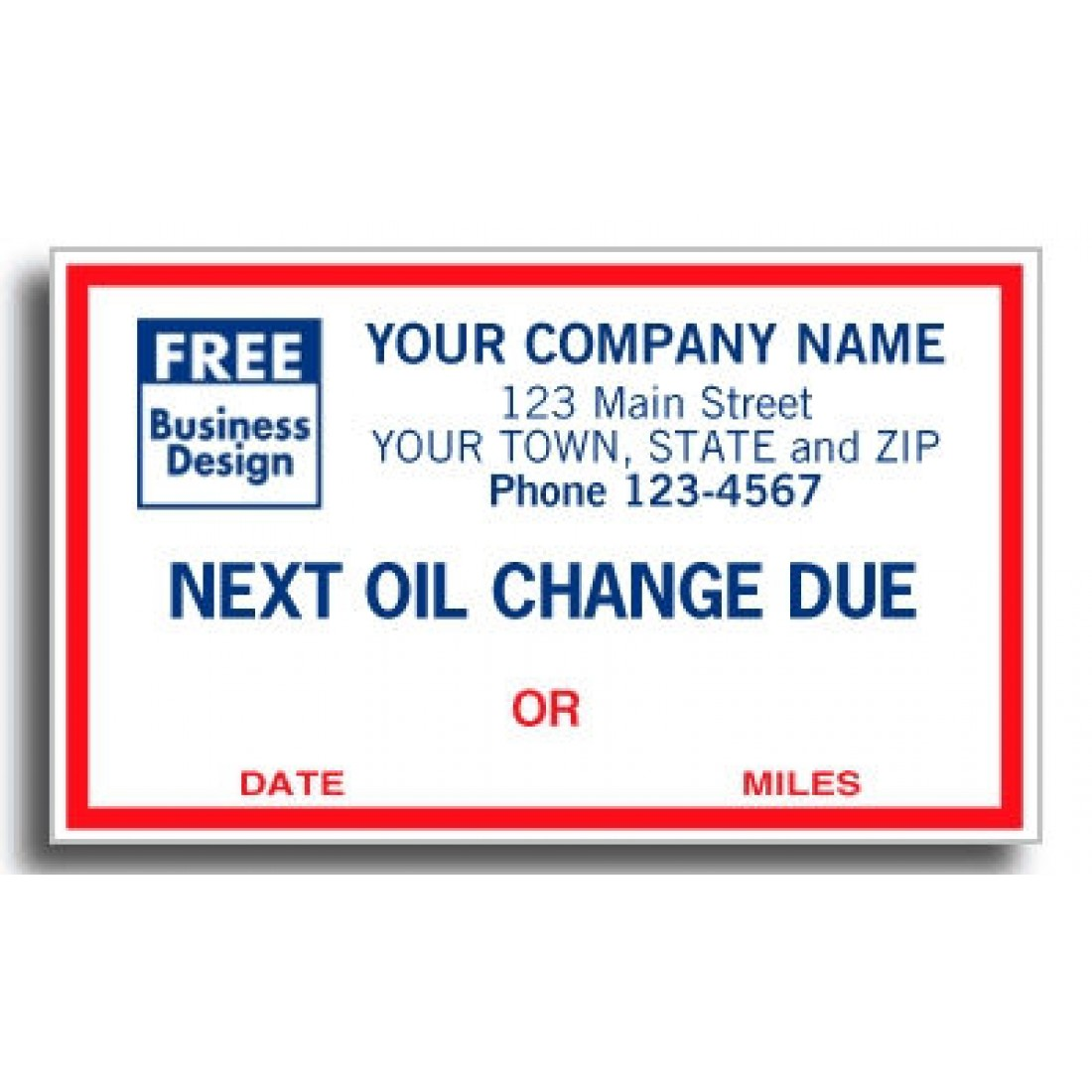Windshield Imprinted Oil Change Labels