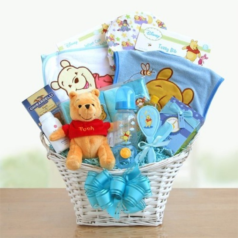 New Baby Boy Gift Baskets Free Shipping : Winnie the pooh baby boy basket free shipping