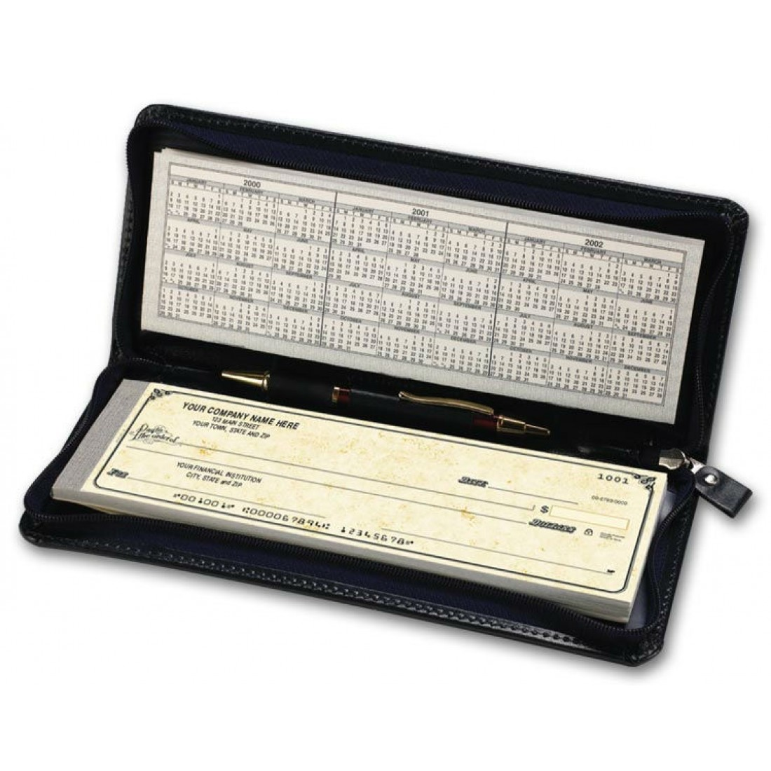Business Cheque Book Covers : Zippered leather check cover personal size free shipping