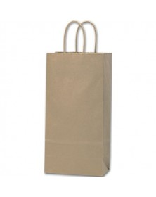 Recycled Kraft Paper Shoppers Double Wine, 6 1/2x3 1/2x13