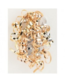 Gold, Silver, Chocolate Curly Bows, 1/4