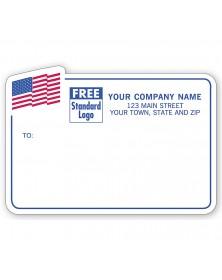 American Flag Mailing Labels, Padded, Blue Border