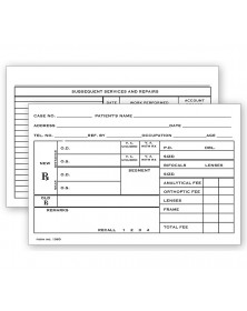 "Optometry Rx Record Card Two Sided 4"" X 6"""