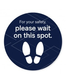 "Please Wait Floor Decal 18"" Black Pack of 6"