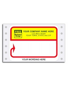 D213, Continuous Mailing Label, Red/Bight Yellow (Item #D213) - Mailing Labels  - Labels | Printez.com