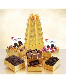 Ultimate Golden Godiva Food Gift Tower