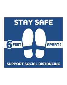 """Stay Safe Square Floor Decal 12"""" x 14"""" Pack of 6"""