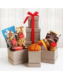 Hickory Farms Sweet & Savory Holiday Snacks Food Gift Tower