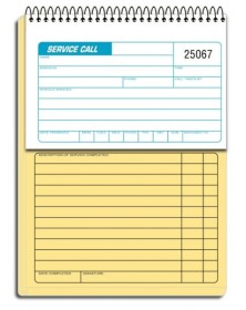 Service Call Books Consecutively Numbered