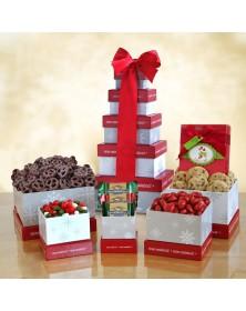 Winter Wonderland Holiday Treats Food Gift Tower