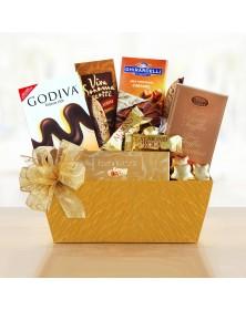 Golden Chocolate Sampler Food Gift Basket