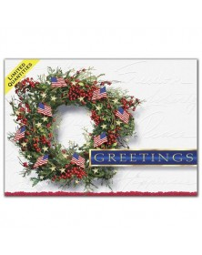 Patriotic Wreath Holiday Greeting Card