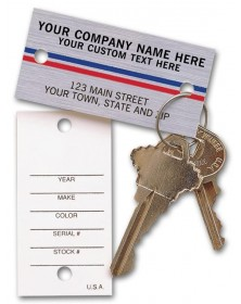 Brushed Chrome Auto Key Tags