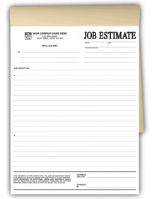 Duplice Job Estimate Forms In Books