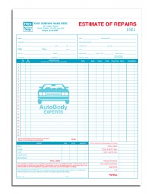 Detailed Labor and Parts Auto Estimate Forms