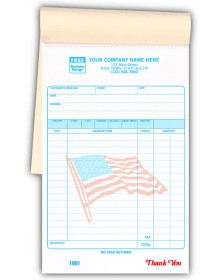 Special Wording Custom Patriotic Receipts in a Book customized receipt books, sales pads, sales receipt books