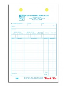 Large Auto Parts Register Order Forms