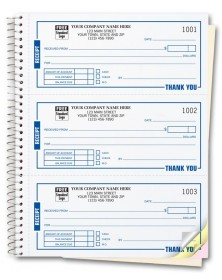 spiral bound custom receipt book printing