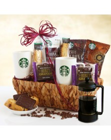 Starbucks Lover's Gift Basket with Coffee Press