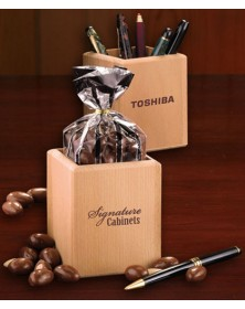 Pen & Pencil Cups with Hardwood Pen and Pencil Cup with Milk Chocolate Almonds