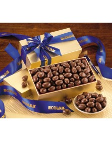 Gold Gift Box with Milk Chocolate Covered Almonds (CR124) - Gift Boxes  - Promotional Food Gifts | Printez.com