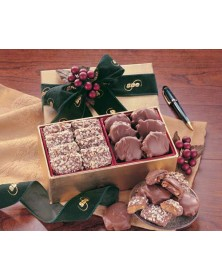 Gold Gift Box with English Butter Toffee & Pecan Turtles  (CR160) - Gift Boxes  - Promotional Food Gifts | Printez.com