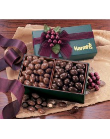 Green Gift Box with Milk & Dark Chocolate Almonds (GN125) - Gift Boxes  - Promotional Food Gifts | Printez.com