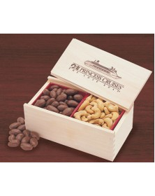 Wooden Collector's Box with Milk Chocolate Almonds & Jumbo Cashews