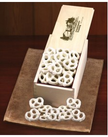 Wooden Collector's Box with White Chocolate Pretzels